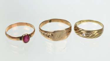 3 gold rings - yellow gold 333