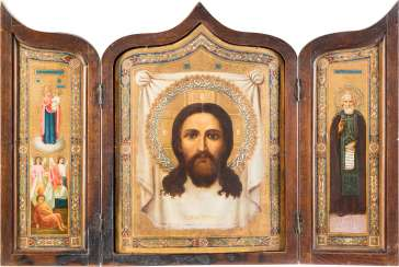 THIS LARGE-FORMAT TRIPTYCH WITH THE MANDYLION, THE MOTHER OF GOD 'JOY OF ALL WHO SORROW', AND TO THE HOLY SERGEI OF RADONEZH