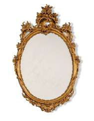 AN ITALIAN GILT-VARNISHED-SILVERED ('MECCA') MIRROR