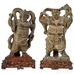 A pair of rare stone sculptures of two heavenly kings, Ming dynasty, China, 15th / 16th c. century