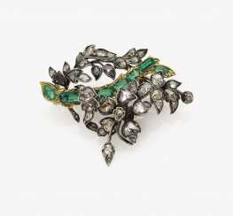 Giardinetto brooch set with diamonds and emeralds. France, 3. District 18. Century