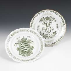 Anniversary plates and regimental plate, MEISSEN