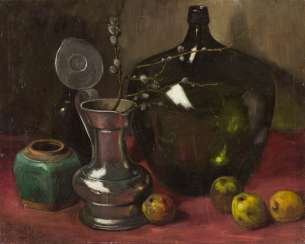STILL LIFE WITH JUG, VASE AND APPLES