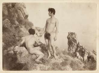 Two young man on the rocks 1900