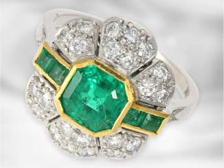 Ring: mint emerald/diamond ring in the Art Deco style, a total of approximately 2.4 carats, 18K Gold