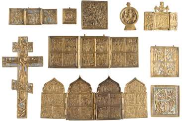 A CROSS, A TETRAPTYCHON, THREE TRIPTYCHA AND FIVE BRONZE ICONS