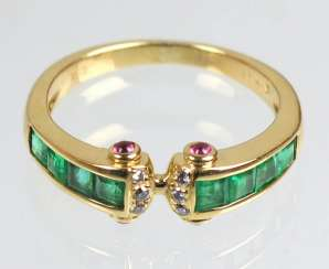 Emerald ruby ring yellow gold 750