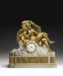 A LATE LOUIS XVI ORMOLU AND WHITE MARBLE MANTEL CLOCK