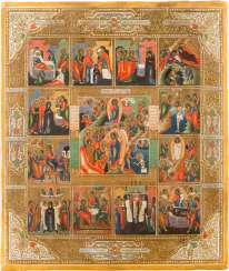 ICON WITH THE HADES JOURNEY OF CHRIST AND HIS RESURRECTION WITH THE TWELVE GREAT FEASTS OF THE ORTHODOX CHURCH YEAR