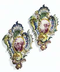 TWO ORMOLU-MOUNTED HÖCHST FAYENCE WALL LIGHTS (BLAKERS) MADE...