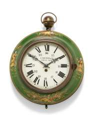 A FRENCH GREEN-AND-GILT-DECORATED TOLE AND GILT-BRASS CHINOISERIE SEDAN CLOCK
