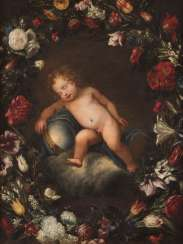 CHRIST CHILD WITH EMPIRE IN A GARLAND OF FLOWERS