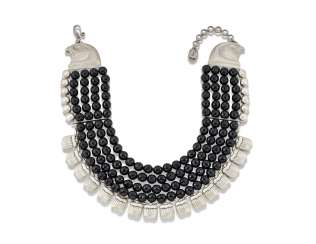 SILVER AND BLACK BEAD SCARAB AND FALCON-HEADED NECKLACE, BY AZZA FAHMY