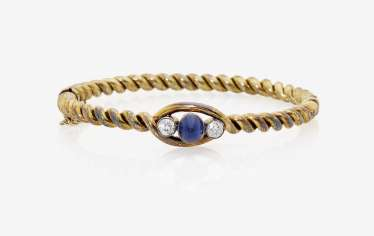 Bangle with sapphire and diamonds. Probably Italy, around 1870