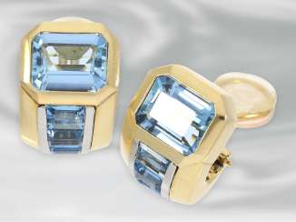Earrings: very high-quality, formerly expensive aquamarine clip earrings, 18K Gold