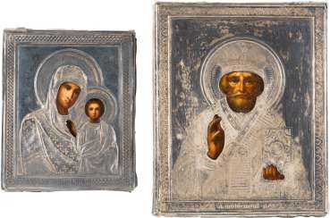 TWO SMALL ICONS WITH OKLAD: THE MOTHER OF GOD OF KAZAN AND SAINT NICHOLAS OF MYRA