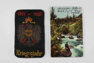 Group of the German Empire: documents bag years of war, 1914-1915, souvenir card visit to the German Emperor in Switzerland in 1912, with Edelweiss-Sträusschen