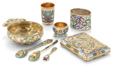A GROUP OF CLOISONNÉ ENAMEL SILVER-GILT TABLE ARTICLES