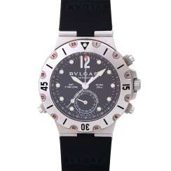 BULGARI Diagono GMT mens watch, Ref. SD 38 S GMT. Stainless steel.