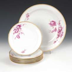6 + 1 plate with purple painting, Meissen