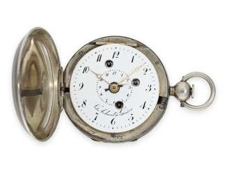 Pocket watch: interesting spindle watch with savonnette case and alarm clock, important Geneva watchmaker, G. Achard & Fils à Genève, around 1800