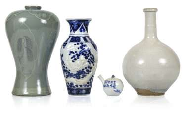 Three Vases And Teapot,