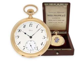 Pocket watch: unique Patek Philippe pocket watch with enamelled coat of arms, and a minute repeater, sold to Tiffany in 1901, with Patek Philippe original box and master excerpt from the book