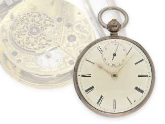 Pocket watch: rare English spindle watch with second, very fine quality, Charles Smith London No. 25380, Hallmarks Birmingham 1823