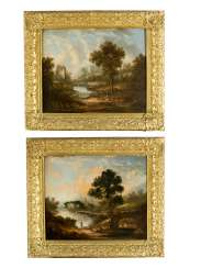 English school early 19th century pair of landscapes with farmers and monuments oil on canvas framed