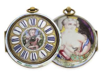 Pocket watch: important, early, early, early and exceptionally large einzeigrige Oignon with enamel-housing