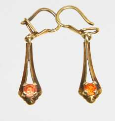 Earrings with citrine - yellow gold 585