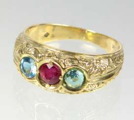 Ruby Ring with blue Topaz - yellow gold 585