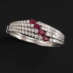 Exclusive bangle with brilliants, diamonds and rubies.