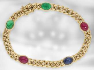Bracelet: classic vintage curb bracelet with color stone Cabochons, handmade from 14K Gold, the court jeweller Roesner