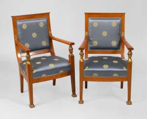 2 neoclassical armchairs.