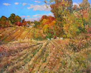 Clear autumn midday Painting by Aleksandr Dubrovskyy