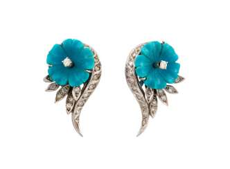 PAIR OF TURQUOISE STUD EARRINGS WITH DIAMOND TRIM