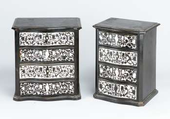 Pair of Ebony and I. miniature commodes in baroque manner