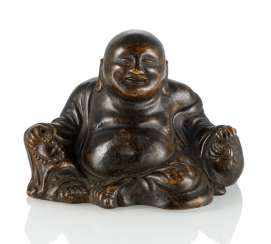 Budai brown glazed Biscuit porcelain seated