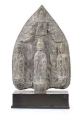Limestone Relief With Buddha And