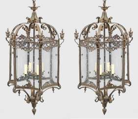 Pair of monumental ceiling lights