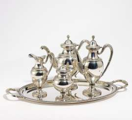 Four piece coffee and tea service with tray