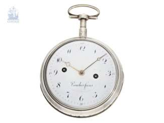 Pocket watch: fine and rare, large clock watch with hour self strike and hour repeater, Vaucher Freres, No. 7415, CA. 1810