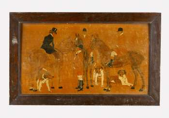Sporting panel with three horse riders and dogs coloured wood partly painted and polished damages around 1900