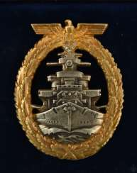 Fleet war badge-SILVER, 800 gold plated with diamonds, marked, in a case, probably after 1945
