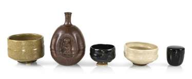 Convolute of three Chawan, a Sake bottle and a tea caddy