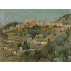 "FAURE, AMANDUS (Hamburg 1874-1931 Stuttgart), ""Mediterranean city on the mountain with fortress"","