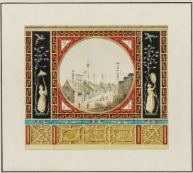 Design for a wall decoration with Chinese motifs