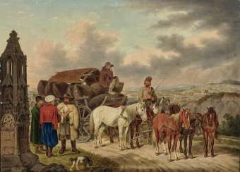 Holding a seven-horse Wallachian freight-wagon with a image stock