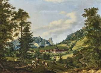 Forest workers in front of the monastery Ettal